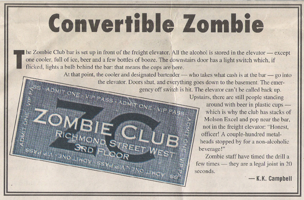 zombie club 318 richmond street west