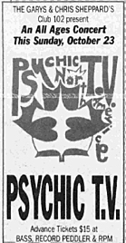 Psychic TV Thee Temple ov Psychick Youth Toronto