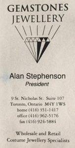 Alan Francis Stepenson Gemstones Card